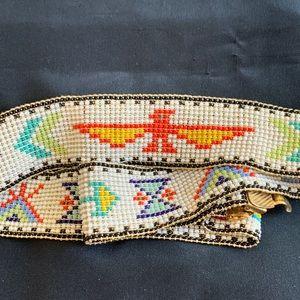"""Native American Glass Seed Bead Elastic Belt 1.5"""""""